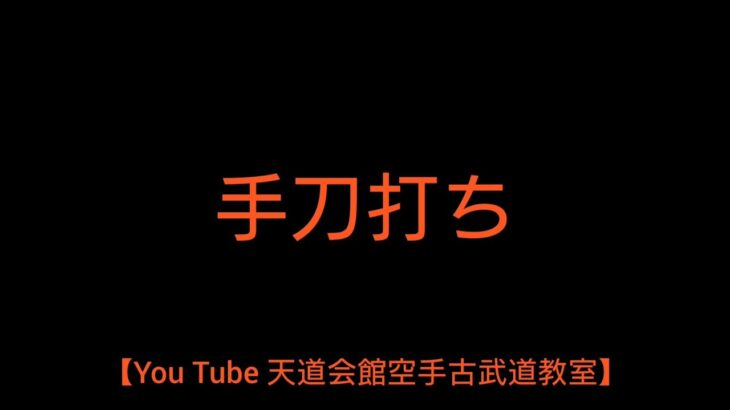 【You Tube 天道会館空手古武道教室】手刀打ち